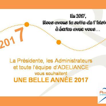TOUTE L''ÉQUIPE DE ADELIANCE VOUS SOUHAITE UNE BELLE ANNÉE 2017
