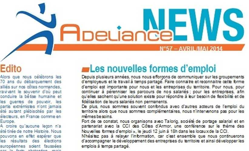 Adeliance News Avril/Mai 0